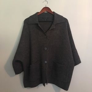 Cozy Soft Cape Sweater Button Loose Grey